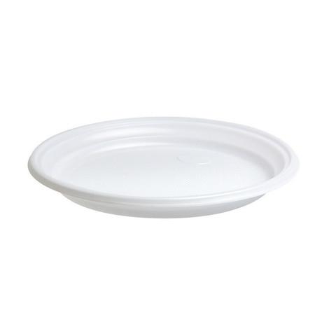 Тарелка одноразовая пластиковая белая 210 мм 100 штук в упаковке