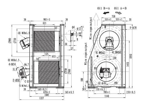Крановая двойная лебедка IYJ466-138-90-32-ZPG