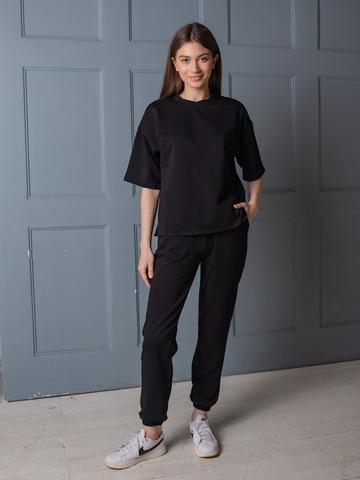 Костюм из смесового хлопка ( широкая футболка и брюки с манжетами) черный