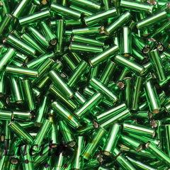 57120 Бисер Preciosa стеклярус #3, прозрачный зеленый с серебряным центром