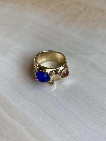 Кольцо Рольдалис, красный и синий камни