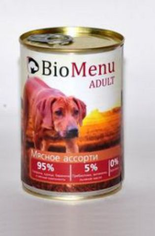 BioMenu ADULT Консервы д/собак Мясное ассорти 95%-МЯСО 410гр*20