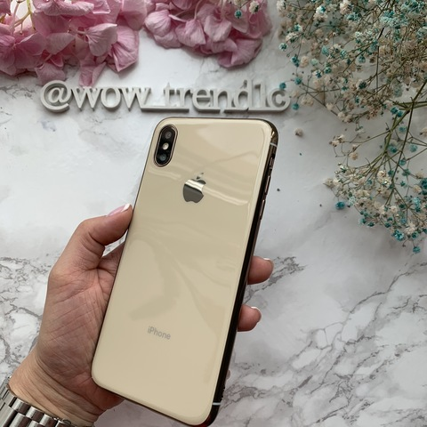 Чехол iPhone XS MAX Glass Silicone Case Logo /gold/