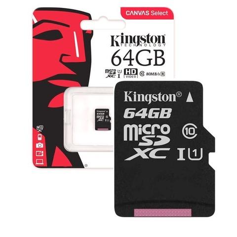 Карты памяти MicroSD  64GB  Kingston Class 10 Canvas Select UHS-I U1 (80 Mb/s) + SD адаптер