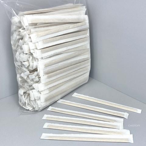 Мешалки деревянные в индивидуальной бумажной упаковке (500 шт.)