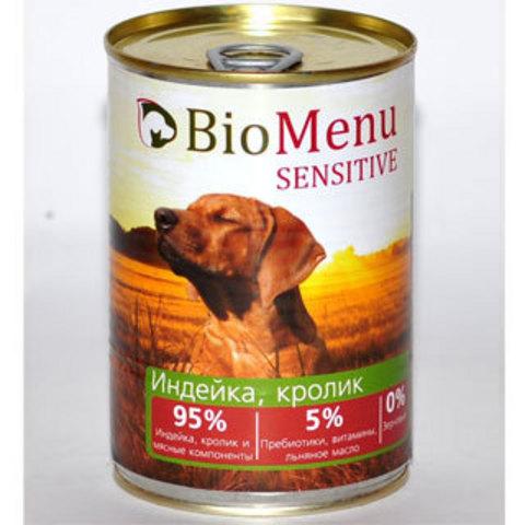 BioMenu SENSITIVE Консервы д/собак Индейка/Кролик  95%-МЯСО 410гр*20