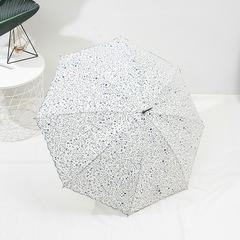 Женский зонт-трость, ручка-крюк, 8 спиц Yoco (Япония) белый цветочный принт