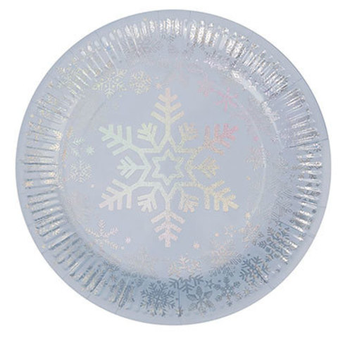 Тарелки Снежинка перламутр, 8 штук