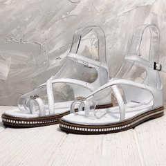 Сандали женские босоножки с закрытой пяткой и открытым носком Evromoda 454-402 White.