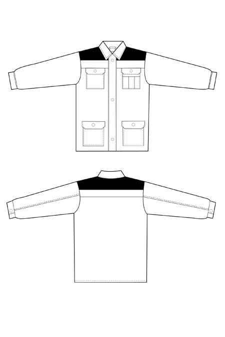 Лекала рабочей куртки на молнии технический рисунок