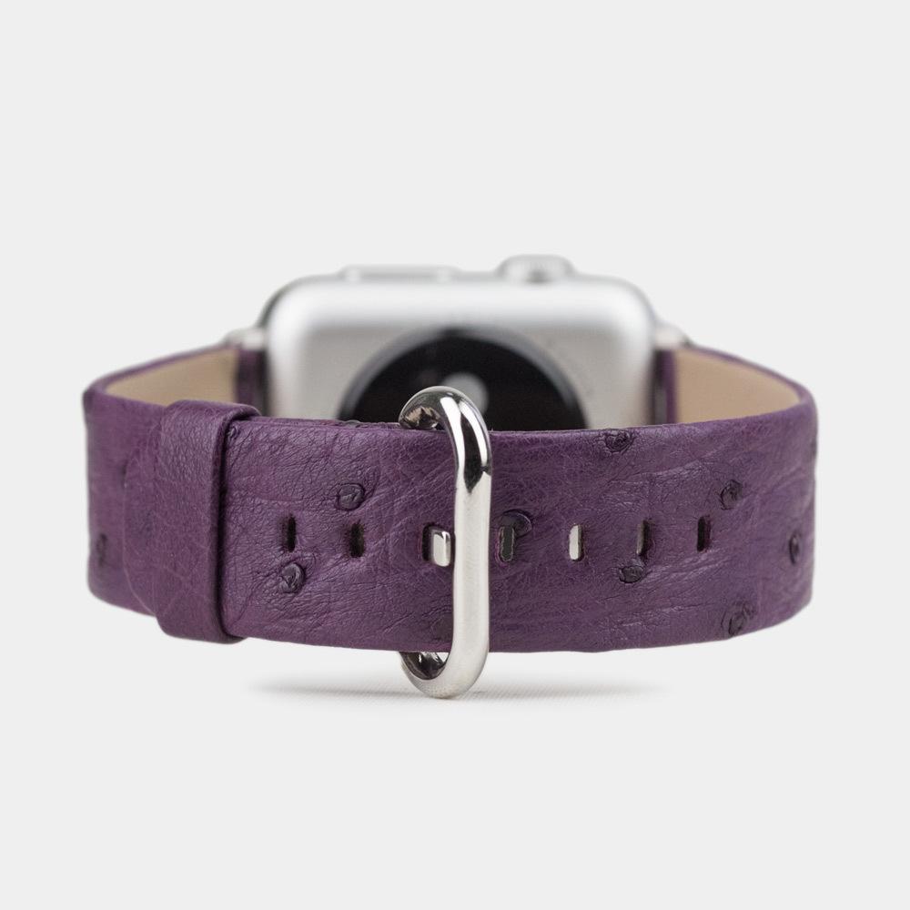 Ремешок для Apple Watch 42/44мм ST Classic из натуральной кожи страуса, фиолетового цвета