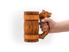 Кружка из дерева с резной ручкой «Волк» 0,7 л, фото 4