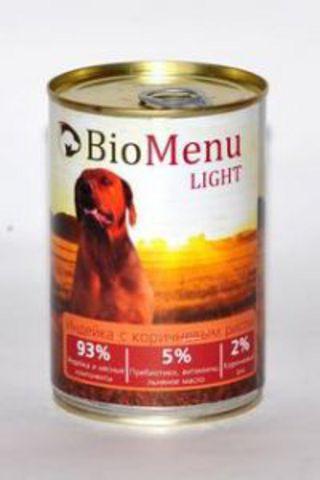 BioMenu LIGHT Консервы д/собак Индейка с коричневым рисом  93%-МЯСО 410гр*20