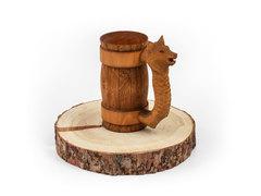 Кружка из дерева с резной ручкой «Волк» 0,7 л, фото 2