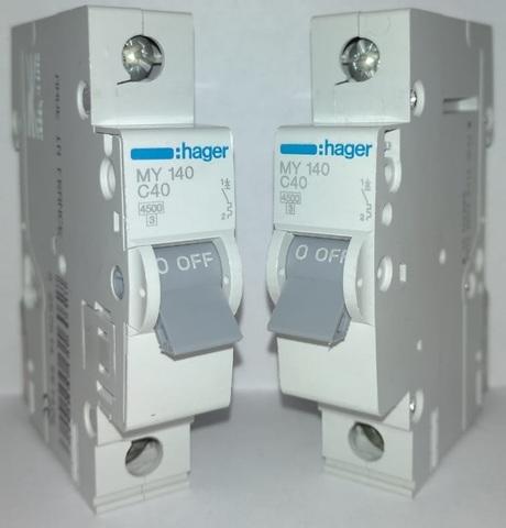 арт. MY140; Автоматический выключатель 1P 4,5kA C-40A 1M