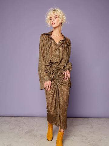Блуза из шелка со сборкой