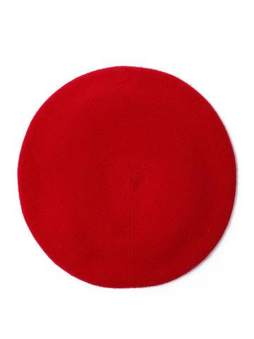 Женская шапка красного цвета из шерсти и кашемира - фото 2