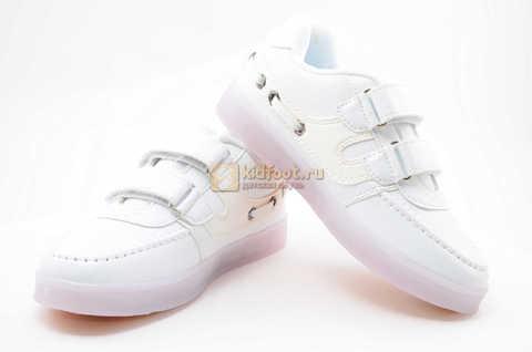 Светящиеся кроссовки с USB зарядкой Бебексия (BEIBEIXIA) для девочек цвет белый. Изображение 8 из 12.