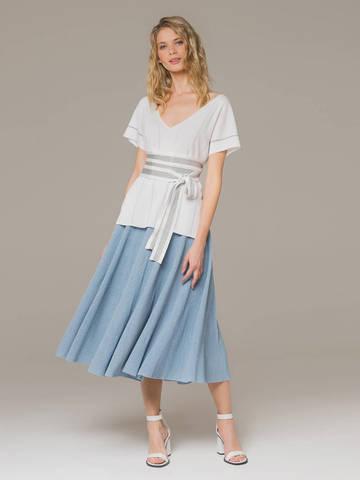 Женская юбка-миди голубого цвета - фото 3