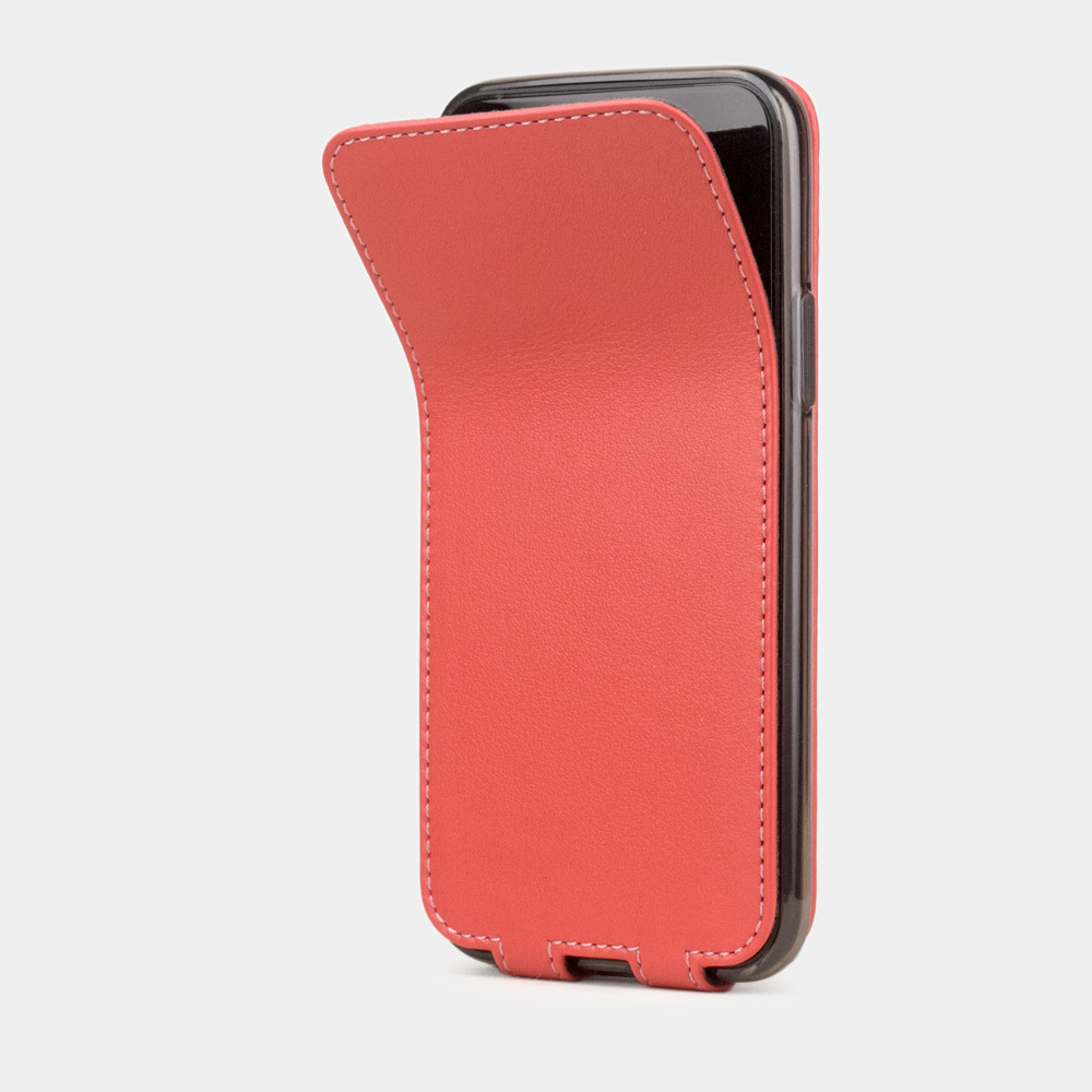 Чехол для iPhone 11 Pro из натуральной кожи теленка, кораллового цвета