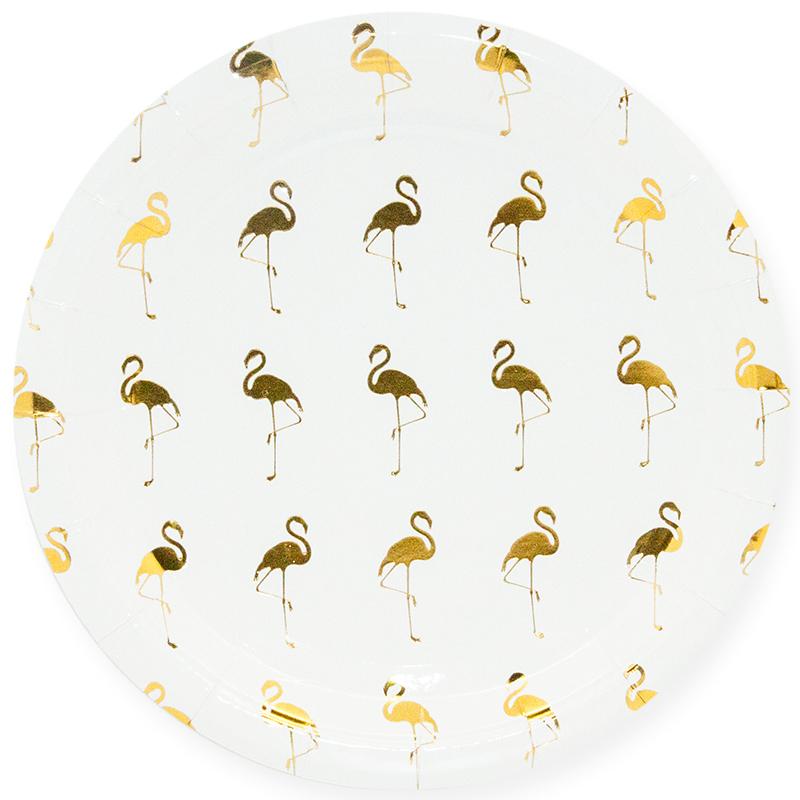 Тарелки 23 см Золотой фламинго, Белый, 6 шт.