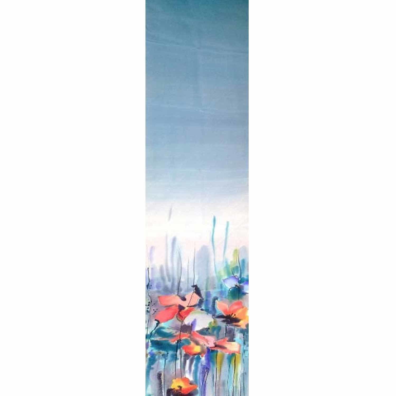 Шелковый шарф ручной росписи батик Мак на Воде