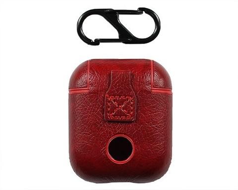 Чехол для Airpods с карабином | экокожа темно-красный