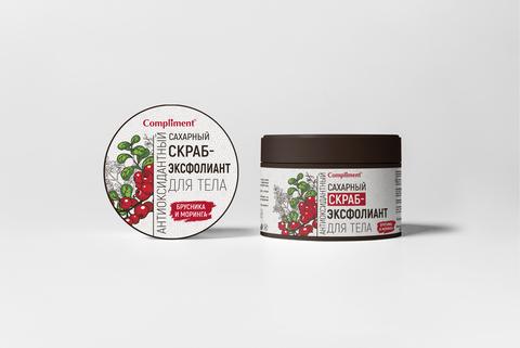 Compliment Сахарный скраб-эксфолиант для тела Брусника и Моринга антиоксидантный