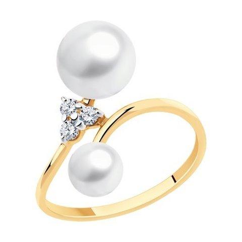 791179 - Кольцо из золота с жемчугом и фианитами