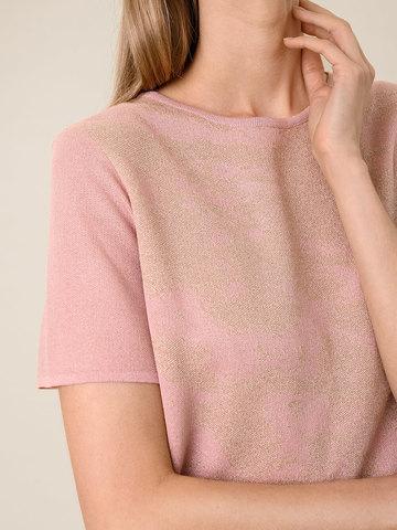Женская футболка светло-розового цвета из вискозы - фото 4