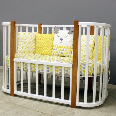 Кроватка MALIKA VERONA 4 в 1 белый, стойки бук