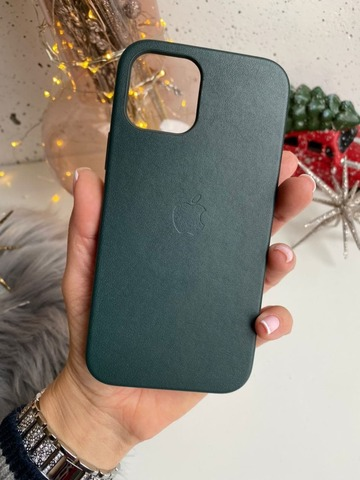 Чехол Iphone 12 pro max Leather case with MagSafe /forest green/