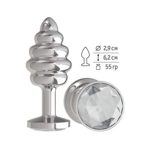 Серебристая пробка с рёбрышками и прозрачным кристаллом - 7 см.