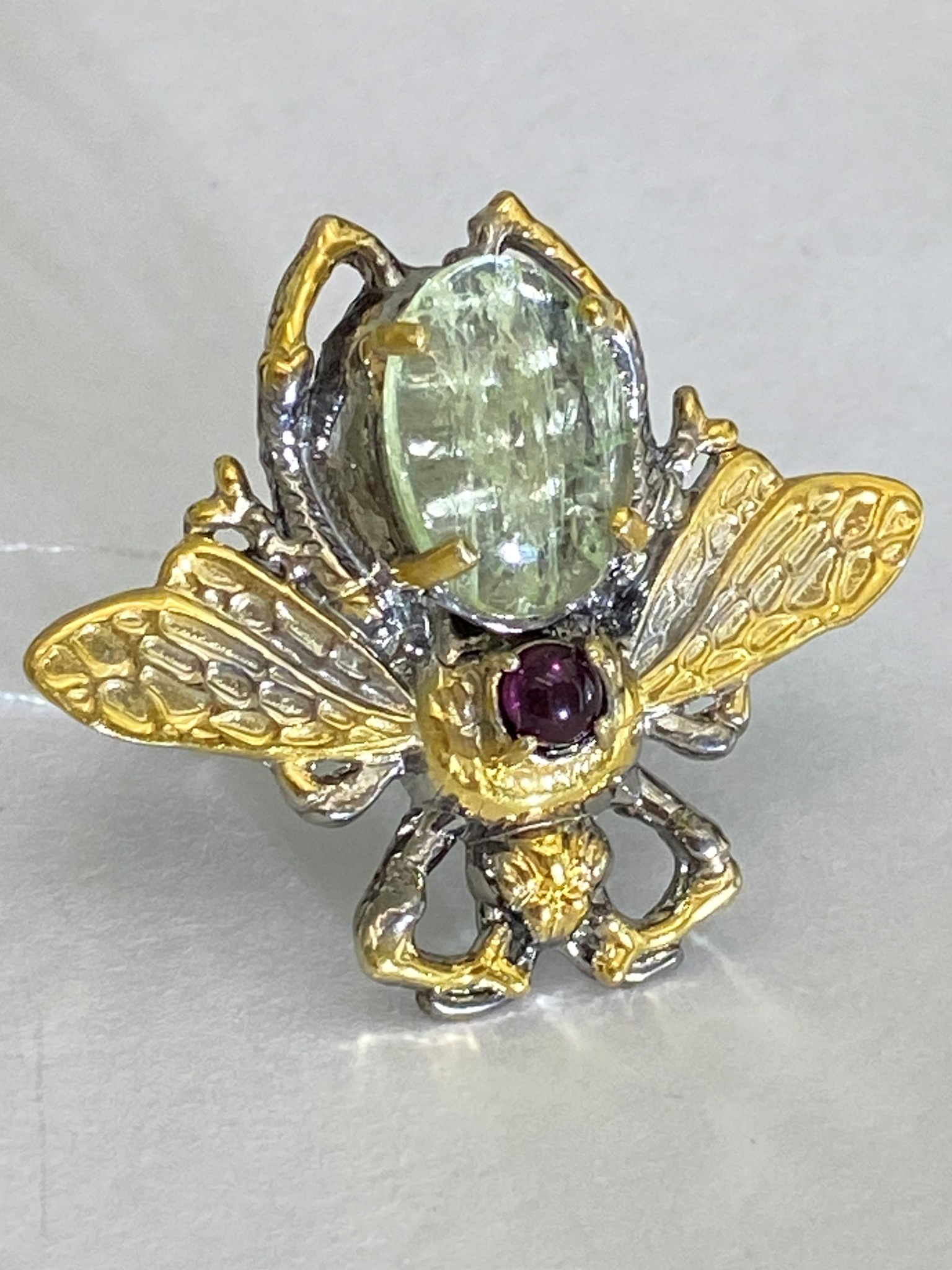 Жук-гелиодор (кольцо из серебра с позолотой)