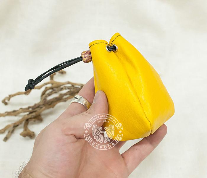 WL223-4 Желтый кисет ручной работы из натуральной кожи фото 05