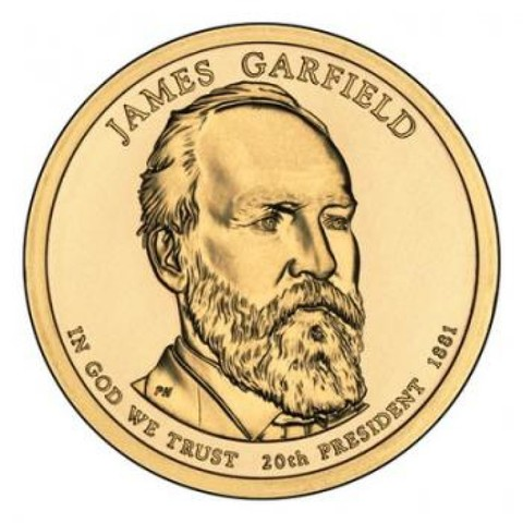 1 доллар 20-й президент США Джеймс Абрам Гарфилд 2011 год