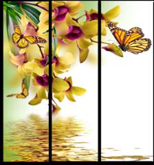 "Модульная картина "" Бабочка на цветке"""