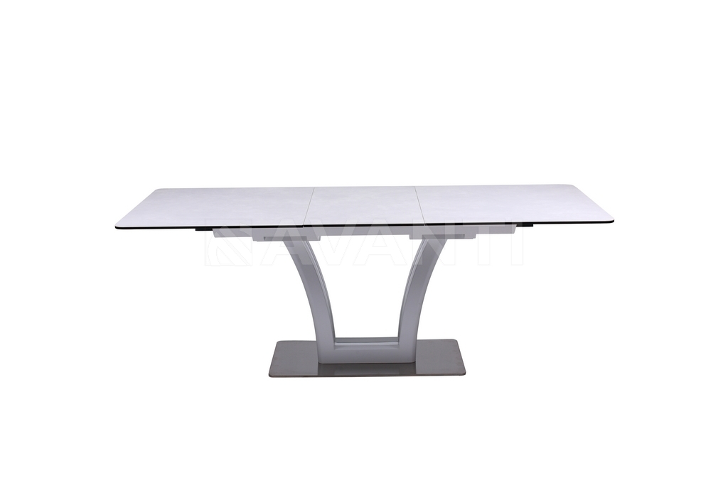 Стол обеденный FUSION (1400-1800x850x760) MATT WHITE/ LIGHT GRAY (белый сатин/серый)