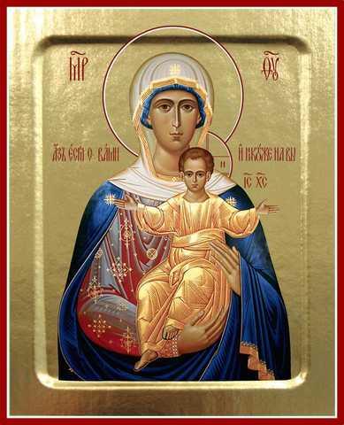 Икона Богородицы «Аз есмь с вами, и никтоже на вы» (Леуши́нская), на дереве, 125х160 мм