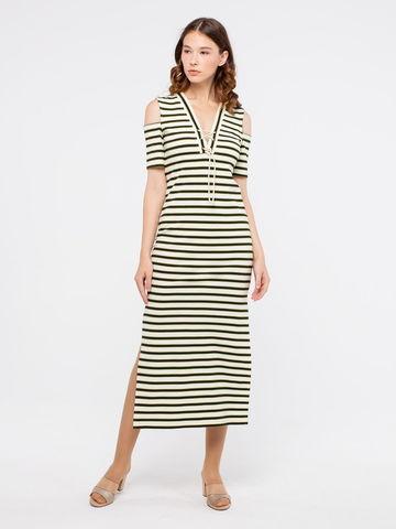 Фото летнее длинное платье с v-образным вырезом и кружевом - Платье З187-262 (1)