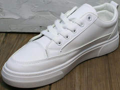 Smart casual белые кроссовки женские El Passo 820 All White.