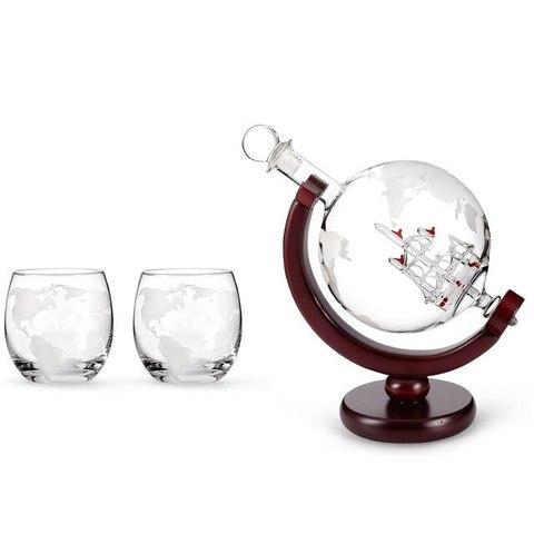 Набор для виски «Глобус с бокалами»