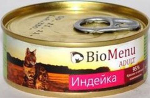BioMenu ADULT Консервы д/кошек мясной паштет с Индейкой  95%-МЯСО 100гр*24