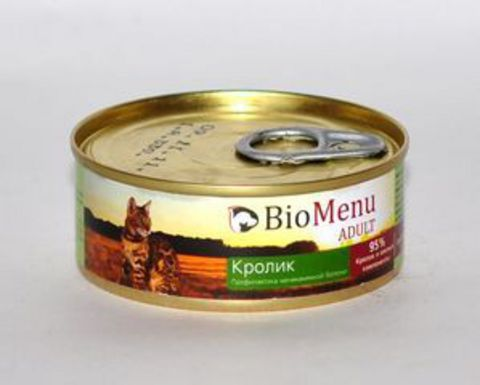 BioMenu ADULT Консервы д/кошек мясной паштет с Кроликом  95%-МЯСО 100гр*24