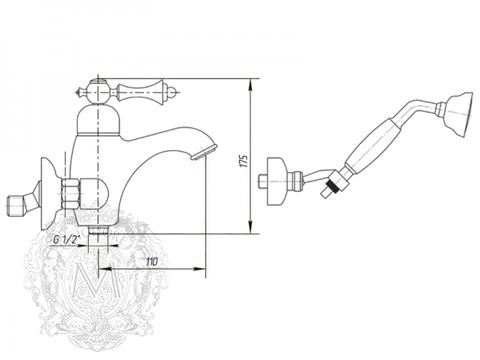 Смеситель для ванны Migliore Bomond ML.BMD-9702 схема