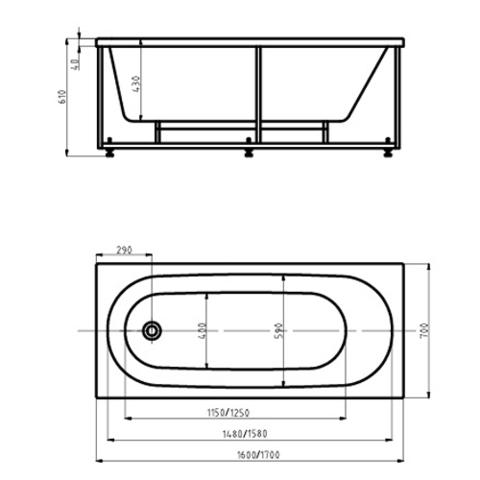 Ванна акриловая Aquatek Оберон  160х70см. на каркасе и сливом-переливом. схема