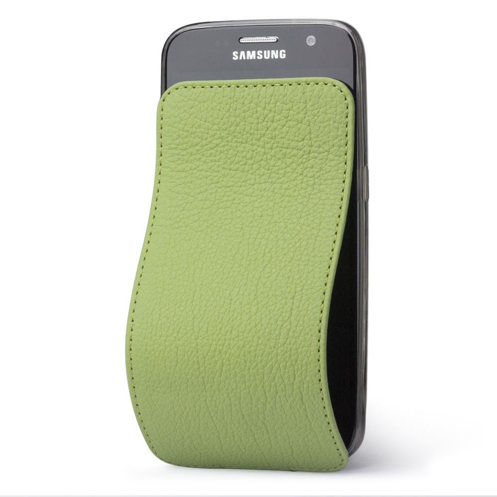 Чехол для Samsung Galaxy S7 edge из натуральной кожи теленка, цвета светлой оливы