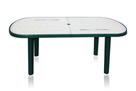 Пластиковый стол овальный с рисунком зеленый