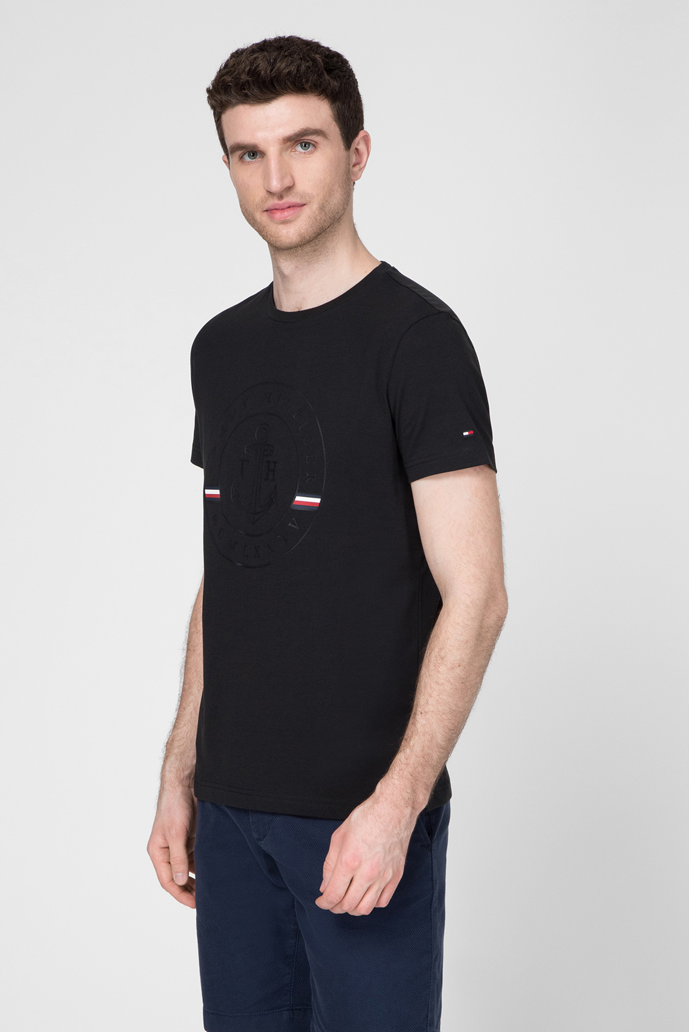 Мужская черная футболка TONAL ANCHOR Tommy Hilfiger