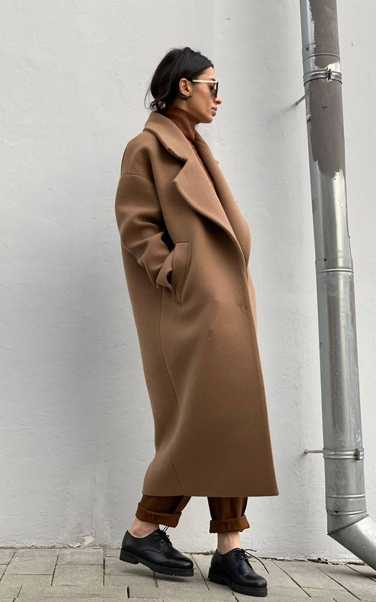 Пальто с большим лацканом, кемел
